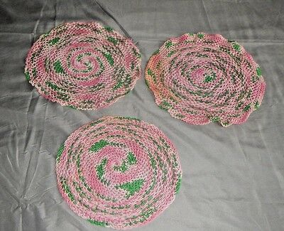 3 Vintage Hand Crocheted Shade of Pink w Green Round Doilies