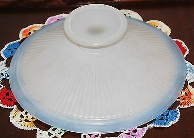 Blue & White Frosted Antique Glass Opalescent Shallow Ribbed Bowl Excellent Cond