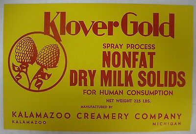 Vtg Klover Gold Kalamazoo Creamery Company Dry Milk Solids Advertising Sign-Mi