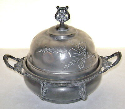 Antique Superior Silver Plate Co. 1864-1899 Covered Butter Dish with Drain Tray