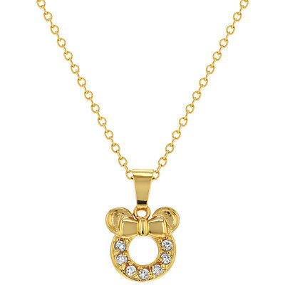 18k Gold Plated Clear CZ Little Mouse Girls Children Pendant Necklace 16""