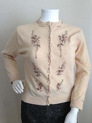 Vintage 1950's Embroidered Floral Cream Beige Cardigan Sweater-S/M
