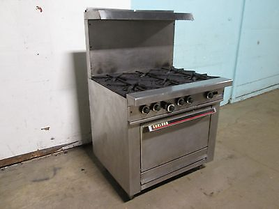 """""""GARLAND"""" COMMERCIAL H.D. NATURAL GAS 6 BURNERS STOVE w/OVEN & S.S. SHELF"""