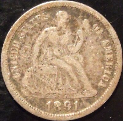 1891-O Seated Dime Circulated