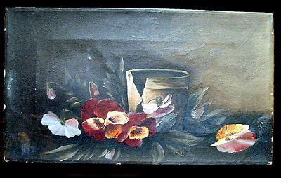 Old Antique Still Life Oil Painting from late 1800's Flowers and Crock