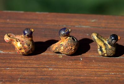 3 Beautiful Ancient Phoenician Glass Bird Beads From Excavation LOT
