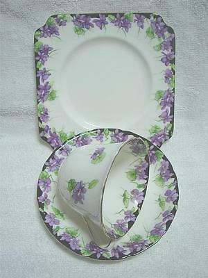 Vintage ROYAL DOULTON bone china VIOLETS Trio High Tea cup saucer plate