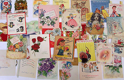 Lot of 29 Vintage Greeting Cards Birthday Get Well Valentines Christmas Used
