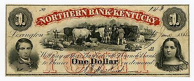 1862 $1 The Northern Bank of KENTUCKY Note - CIVIL WAR Era Barboursville Branch