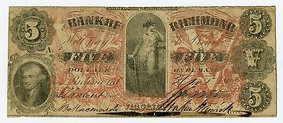 1861 $5 The Bank of Richmond, VIRGINIA Note - CIVIL WAR Era SCARCE!