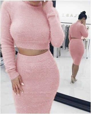 Women Winter Knitted Pullover Sweater Dress Sweatersuit Knitwear Jumper Fashion