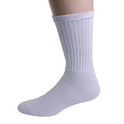 Wholesale Lot 60 Pair Mens Crew Socks Size 10-13 Large Solid White