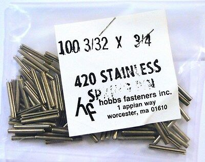 "FASTENER SPRING PIN 3/32""x3/4"" Stainless 420 - HOBBS SHAKEPROOF *UNUSED* Qty:100"