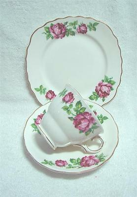 Vintage Colclough red rose Trio High Tea cup saucer plate