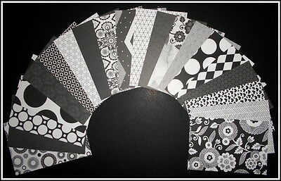 *BLACK JACK* Black & White Papers Scrapbooking/Cardmaking  - 15cm x 10cm (6 x 4)
