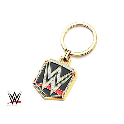 WWE Championship Belt Logo SS Gold PVD Plated Licensed Keychain Key Ring