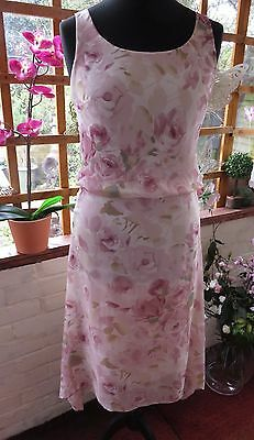 """Stunning """"max Mara"""" Made In Italy Sheer Silk Floral Print Lined Dress Size 12"""