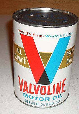 Vintage 70's Valvoline Motor Oil Can - All Climate Heavy Duty Motor Oil Ashland