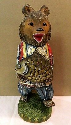 Russian Very Large Carved Handpainted Wooden Bear With Fish Museum Quality