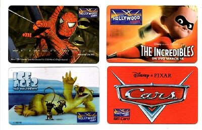 4 Different Disney Hollywood Video Gift Cards No Cash Value Collectable  Only