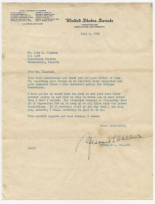 Senator Spessard L Holland Dem Florida Signed Letter Autograph 6 July 1951
