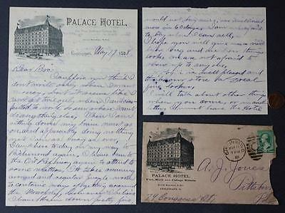 1888 Cincinnati,Ohio Palace Hotel 2 1/2 page handwritten letter & envelope-COOL!