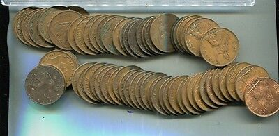 Great Britain 1861 - 1967 One Penny 60 Coin Lot  28 Different Dates Circulated