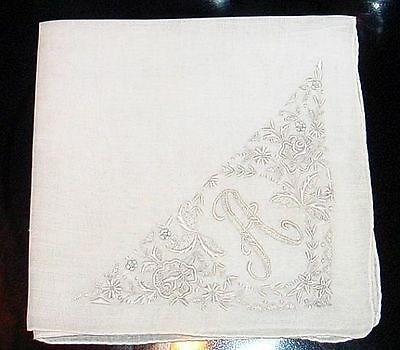 "Antique Bridal Wedding Handkerchief Monogram ""A"" Embroidered White on White NR"