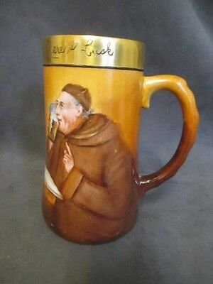 Antique Vienna Austria Porcelain Hand Painted Tankard MONK DRINKING  ks5