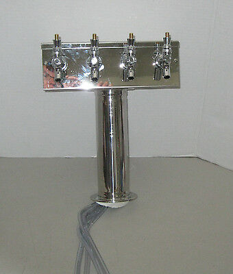 "Micro Matic ""T"" Style Beer Tower 4 Faucets Polished Stainless Steel Air Cooled"
