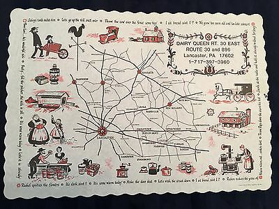 Vintage DAIRY QUEEN paper placemat AMISH phrases Lancaster PA  1974