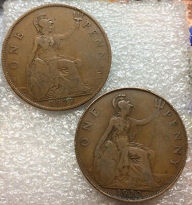 Lot (2) 1922 & 1927 Great Britain Large One Penny ~ Nice & ORIGINAL  #G5