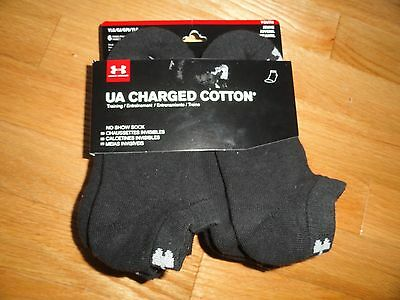 Under Armour Boys Socks 6 Pack Pair Youth Size YLG Ankle Shoe Size 1 - 4 NWT
