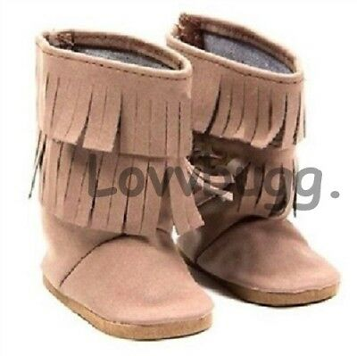 """Lovvbugg Indian Moccasins Fringe Boots Shoes for 18"""" American Girl Doll Clothes"""