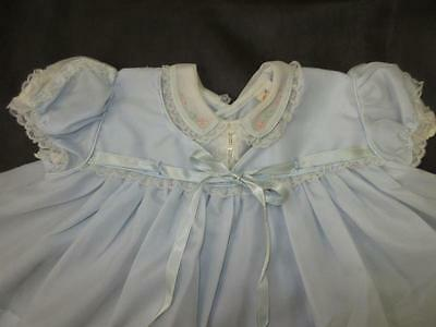 Vtg 50 60s Child Baby BLUE NYLON EMBROIDERED LACE Full Dress Castro Ribbon 18m