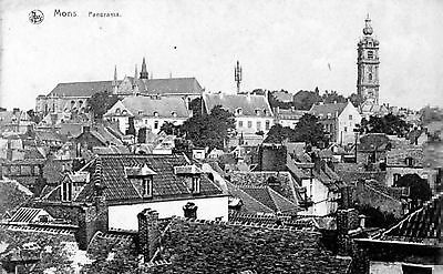 Antique Original Postcard - Mons, Panorama, Belgium
