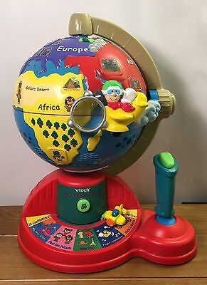 VTech Fly & Learn Globe Moving Plane Talking World Teaches Geography w/Batteries