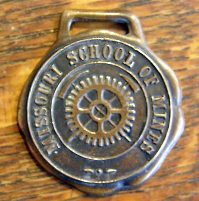 1920's/30's Bronze Missouri School Of Mines Rare Watch Fob Crossed Miners Picks