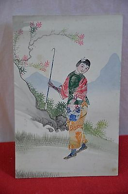 Vintage Hand Painted Chinese Postage Stamp Art PC Girl Walking Mountains #1450