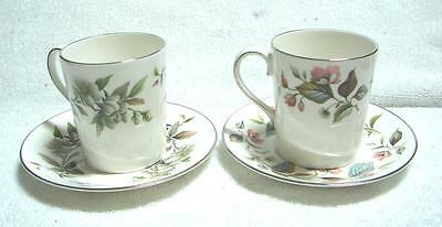 2 x Adderley Demi Tasse Cups and saucers BEECHWOOD +ARCADIA pattern