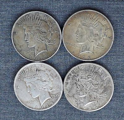 1922P 1922P 1924P 1926S  ~ Lot Of 4 Peace Silver Dollar Circulated Coins