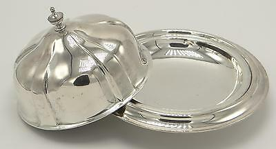 British Silverplate Covered Butter Dish w Ice Compartment