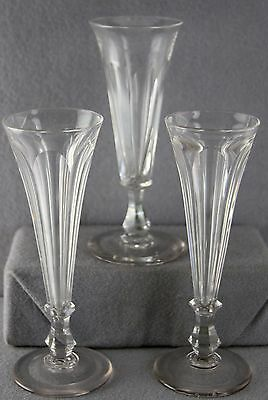 LOT 3PCS MID 1800s ANGLO-IRISH FLINT CHAMPAGNE FLUTES CUT PANEL 4 OUNCE 7 INCH