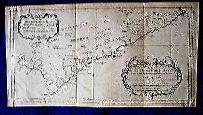 c1747 Antique MAP Chart W AFRICA shows SLAVE TRIBES kingdoms Gold Coast