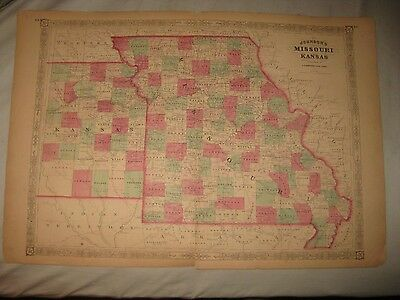 Huge Gorgeous Antique 1865 Missouri Kansas Johnson Handcolored Map City Railroad