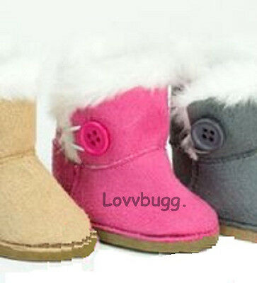 """Lovvbugg Hot Pink Button Shearling Uggly Boots for 18"""" American Girl Doll Shoes"""