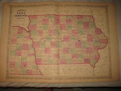 "HUGE 18"" by 26"" ANTIQUE 1865 IOWA NEBRASKA JOHNSON HANDCOLORED MAP SUPERB RARE N"