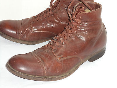 VINTAGE 1930s MEN'S BROWN LEATHER BOOTS! SOFT! FABRIC LINED! LEATHER SOLES! 9