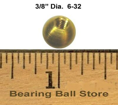 "Five 3/8"" threaded 6-32 brass balls drilled tapped knobs"
