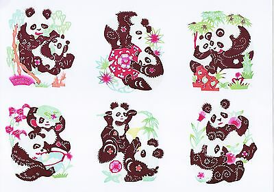Handmade Chinese Paper Cuts Pair Panda Set 10 small colorful pieces Zhou